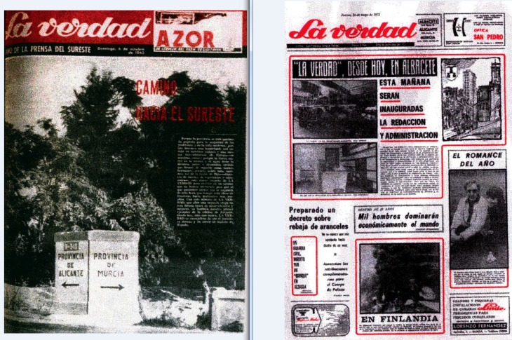 Primeras portadas de las delegaciones de La Verdad en Alicante y Albacete. Fechadas el 6 de octubre de 1963 y 24 de mayo de 1973