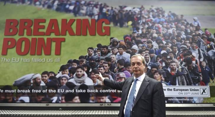 El líder de UKIP, Nigel Farage, en un acto de campaña a favor del Brexit | FACUNDO ARRIZABALAGA