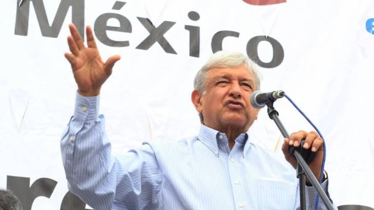 El candidato López Obrador durante un mitin en México.